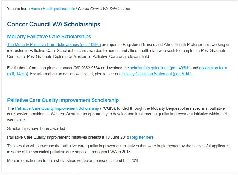 Cancer Council WA Scholarships