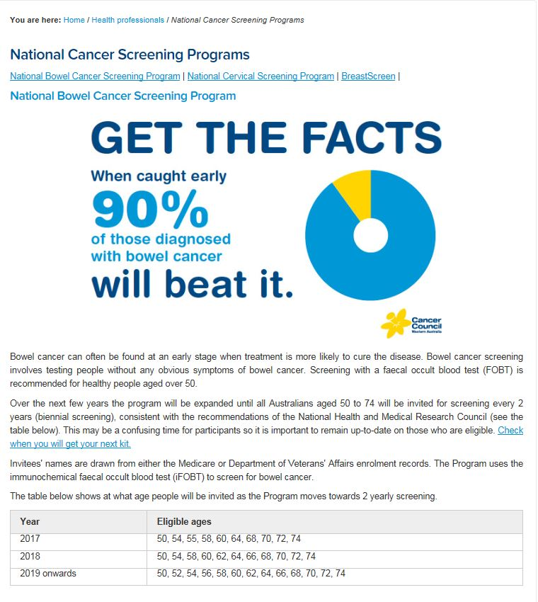 National Cancer Screening Programs