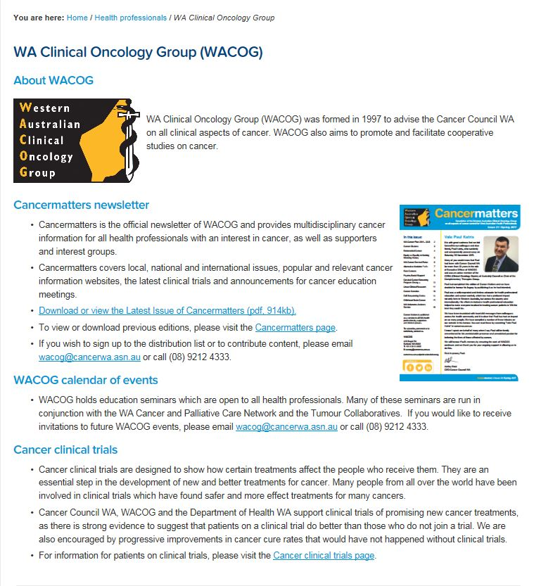 WA Clinical Oncology Group (WACOG)