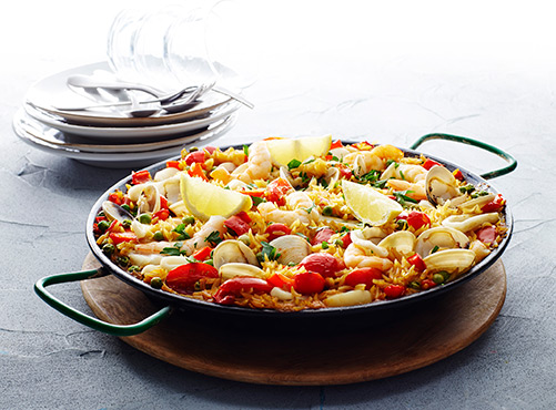Cheat's seafood paella